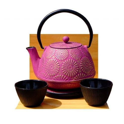 Black Bamboo Forest Cups Trivet & KIKU cast iron tea pot kettle 1.2L Mulberry on gold colour